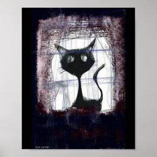 Att hålla ögonen på för kattunge regnar från fönst print