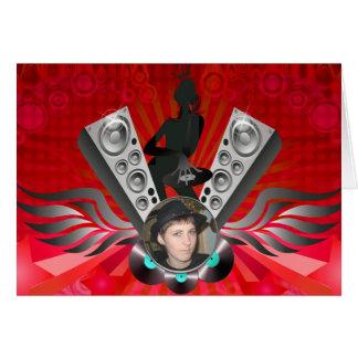 Att pumpa för damDJ-högtalare tillfogar ditt foto Hälsningskort