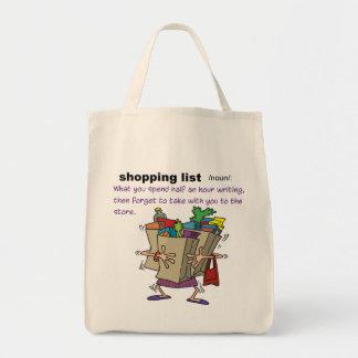 Att shoppa listar livsmedeltoto tygkasse