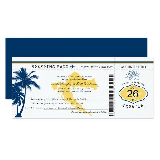 Att stiga ombord för Kroatien passerar blått- och 10,2 X 23,5 Cm Inbjudningskort