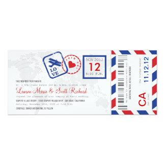 Att stiga ombord passerar flygpost biljettinbjudan 10,2 x 23,5 cm inbjudningskort