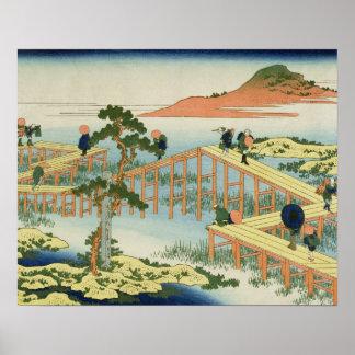 Åtta del överbryggar, landskapet av Mucawa, Japan, Poster