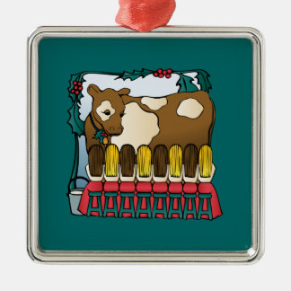 Åtta maids mjölka julgransprydnad metall
