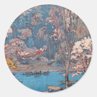 Åtta platser av körsbärsröda blommar, Arashiyama Runt Klistermärke