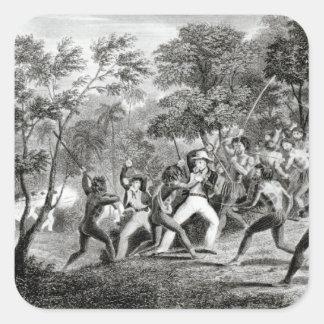 Attack av infödingarna av Gambier öar Fyrkantigt Klistermärke