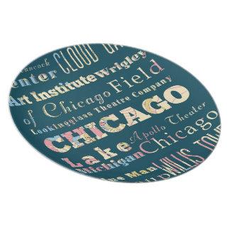 Attraktioner & berömd ställen av Chicago, Illinois Tallrik