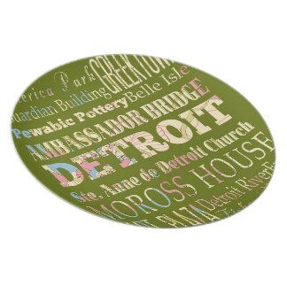 Attraktioner & berömd ställen av Detroit, Michigan Tallrik