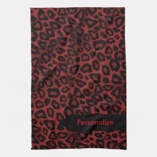 Attraktiv mörk - djurt tryck för röd Leopard Kökshandduk