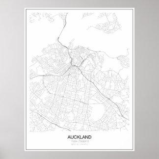 Auckland nyazeeländsk Minimalist karta Poster