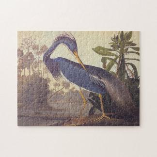 Audubon Lousiana Heron på kust- Marshland Pussel