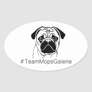 Aufkleber #TeamMopsGalerie Ovalt Klistermärke