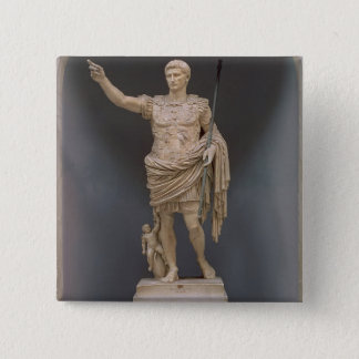 Augustus av Prima Porta, c.20 BC (marmor) Standard Kanpp Fyrkantig 5.1 Cm