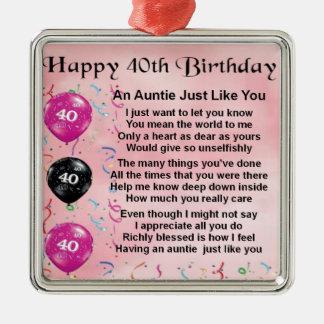 Auntie Dikt - 40th födelsedag Julgransprydnad Metall