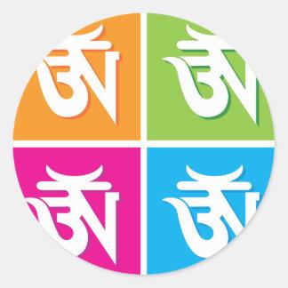 Auspicious hinduiskt OM-/Aum symbol Runt Klistermärke