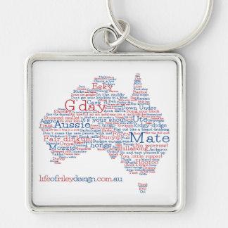 Aussie Slangnyckelring för speciell upplaga Fyrkantig Silverfärgad Nyckelring