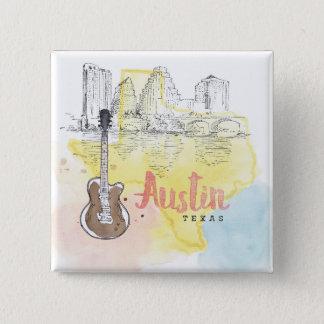 Austin den Texas | vattenfärgen skissar Standard Kanpp Fyrkantig 5.1 Cm