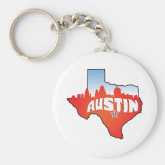 Austin Texas Cityscape Rund Nyckelring