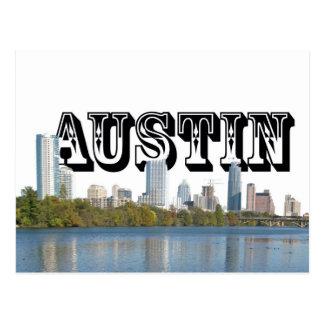 Austin Texas horisont med Austin i himmlen Vykort