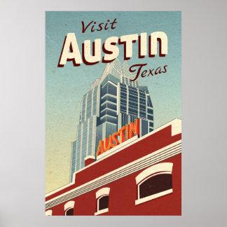 Austin Texas vintage resoraffisch Poster