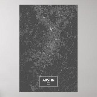 Austin Texas (vit på svart) Poster