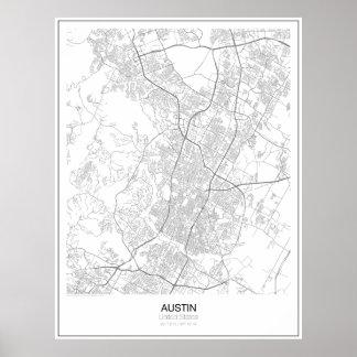 Austin United States Minimalist kartaaffisch Poster