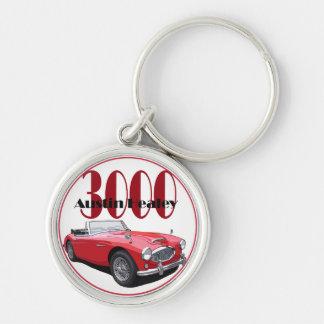 Austinen Healey 3000 Rund Silverfärgad Nyckelring