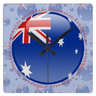 Australien bubblar flagga fyrkantig klocka