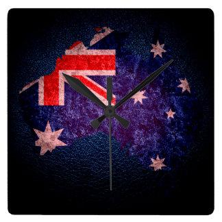 Australien flagga och karta #2 fyrkantig klocka