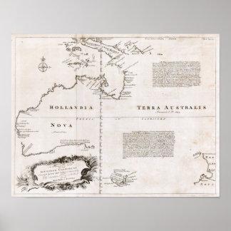 Australien karta 1744 poster