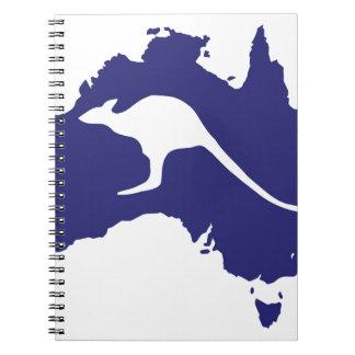 Australien karta med kängurusilhouetten anteckningsbok med spiral