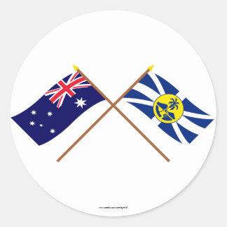 Australien och för Lord Howe Ö Korsa Sjunka Runt Klistermärke