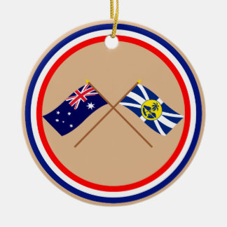 Australien och för Lord Howe Ö Korsa Sjunka Rund Julgransprydnad I Keramik