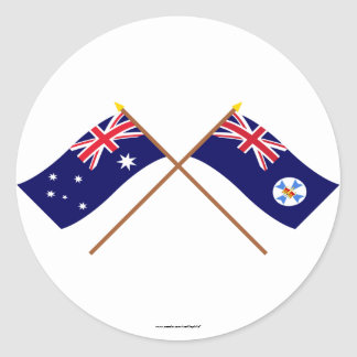 Australien och Queensland korsad flaggor Runt Klistermärke