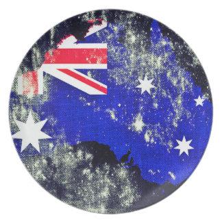 Australien på kanfasmelaminen pläterar tallrik