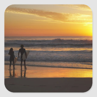 Australien Queensland, Gold Coast, surfarear på Fyrkantigt Klistermärke