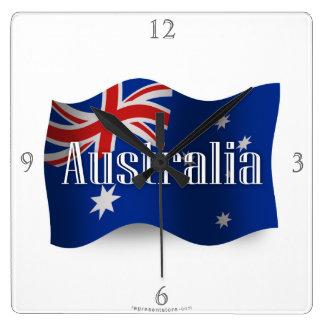 Australien som vinkar flagga fyrkantig klocka