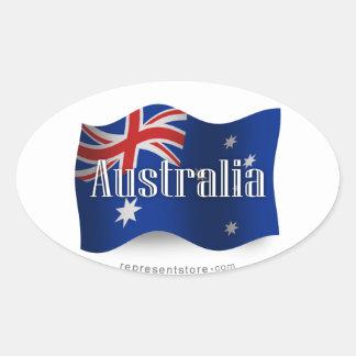 Australien som vinkar flagga ovalt klistermärke