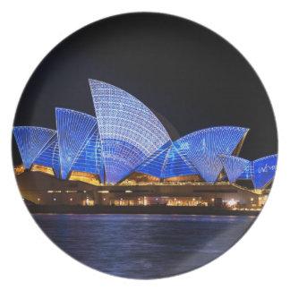 Australien Sydney operahus på natten Tallrik