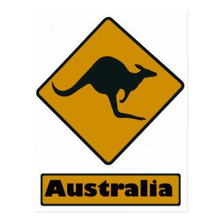 Australien vägmärke - kängurukorsning vykort