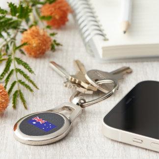 Australiensisk flagga ovalt silverfärgad nyckelring