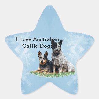 Australiensiska Cattledog på blåttkristall Stjärnformat Klistermärke