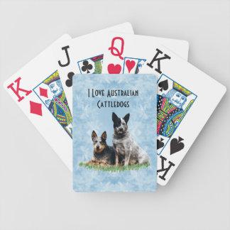 Australiensiskt nötkreatur förföljer på dekor för spel kort