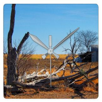 Australier outback landskap väggen tar tid på fyrkantig klocka