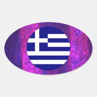 Autentisk grekisk flagga ovalt klistermärke
