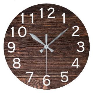 Autentiskt tittar wood horisontaltryck för mörk stor klocka