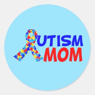 Autismmammablått Runt Klistermärke