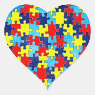 AutismMedvetenhet-Pussel av Shirley Taylor Hjärtformat Klistermärke