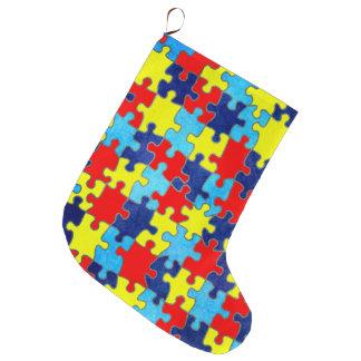AutismMedvetenhet-Pussel av Shirley Taylor Stor Julstrumpa