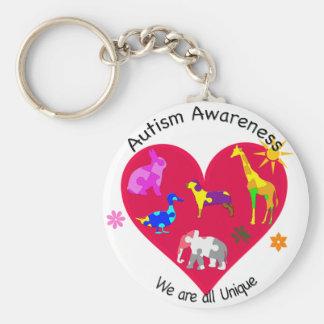 Autismmedvetenhetdjur Rund Nyckelring
