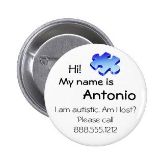 Autismmedvetenheten knäppas med din namn och standard knapp rund 5.7 cm